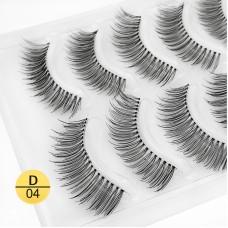 Shidi Shangpin 5 pairs of natural and long false eyelashes Handmade transparent stem eyelashes D-04