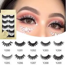 Cross-border new five pairs of false eyelashes 3D imitation mink hair natural thick eyelashes beauty tool