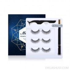 3 Pairs Magnetic Eyelashes and Eyeliner Kit