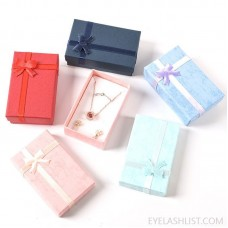 5*8 Jewelry Box Jewelry Bowknot Box Gift Packaging Box Earrings Storage Paper Box World Cover Female