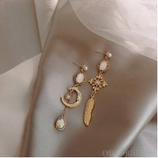 Baroque style light luxury colored diamond gemstone earrings 925 white fungus needle asymmetric star and moon drop earrings classic earrings