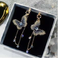925 sterling silver super fairy embroidery butterfly earrings temperament long tassel all-match earrings European and Korean earrings earrings