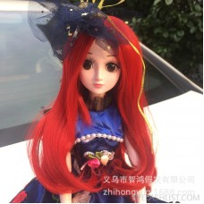 Anime cosplay wig BJD loli doll with red tail curly hair doll wig amazon supply