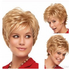 amazon supplies European and American style wigs, short hair, fashion female short blonde curly hair, simulation full headgear, ebay