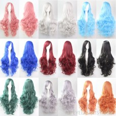 Anime spot amazon sales European and American wig COS wig 80CM long curly hair high temperature silk multicolor curly hair