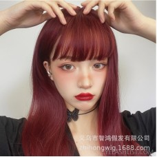 Amazon supplies new Korean temperament face repair full headgear long straight hair high temperature silk Korean wig ebay