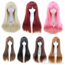 Amazon sells European fashion natural color long straight hair wig cosplay wig headgear in stock ebay