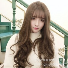 Amazon's new net red wig female long curly hair big wave wig Korean version of the air bangs roll found