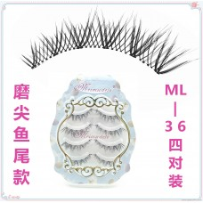 ML-36 sharpened fishtail fake eyelashes natural cross Japanese handmade transparent stem false eyelashes