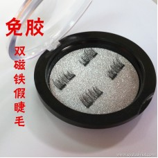 Double magnet false eyelashes manufacturers spot wholesale 3D glue-free magnet eyelashes high temperature silk magnet eyelashes
