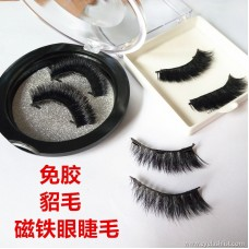 Double magnet false eyelashes manufacturers spot wholesale 3D free glue water mink all eyes long iron eyelashes