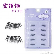 Explosion models F01 handmade five pairs of eyelashes transparent stems natural nude makeup half false eyelashes factory wholesale