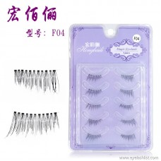 Explosion models F04 handmade five pairs of eyelashes transparent stems natural nude makeup half false eyelashes factory wholesale