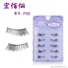 Explosion models F05 handmade five pairs of eyelashes transparent stems natural nude makeup half false eyelashes factory wholesale