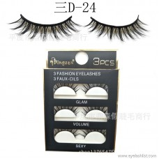 DINGSEN eyelashes manufacturers wholesale false eyelashes three D three-dimensional eyelashes three pairs of three D-24 pop beauty