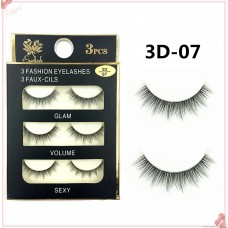 3D-07 pure handmade three-dimensional natural nude makeup transparent stem false eyelashes natural realistic curling 3d eyelashes daily makeup