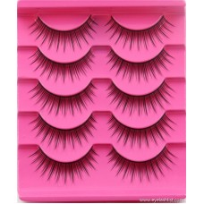 New five pairs of false eyelashes cotton black stalk naked makeup natural eyelashes factory direct foreign trade supply