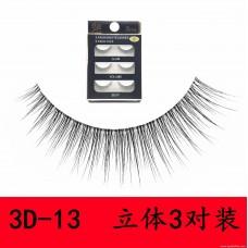 3D-13 fake eyelashes 0.05 imported fine wool protein silk handmade transparent stem natural realistic false eyelashes