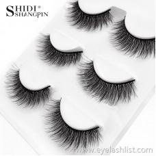 Shi Di Shang Pin Natural False Eyelashes 3D-X07 3D Mink Hair Beauty Eyelashes 3 Pairs Cross-border Sources