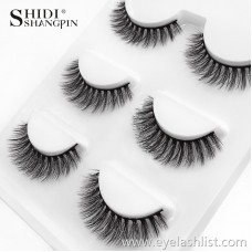 Natural Water Mane False Eyelashes 3D-X04 Natural Cross Eyelashes Local Encryption 3 Pairs
