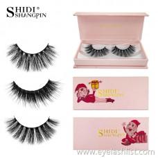 Christmas version of mink hair false eyelashes 1 pair of poems Di Shangpin thick eyelashes cross-border holiday models