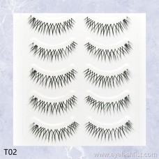 Silk false eyelashes Manufacturers supply New recommended Sharp tip cross eyelashes Five pairs of natural models T02