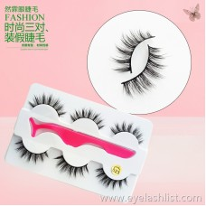 023 new eyelashes handmade three pairs of false eyelashes cross-border supply soft black stem