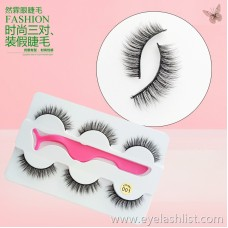 001 new three pairs of false eyelashes, soft and comfortable, cross-border supply, thick and long factory direct sales