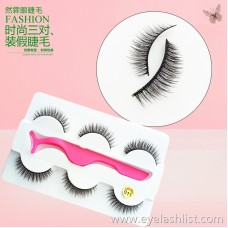 011 Handmade three pairs of false eyelashes for cross-border special supply soft black stem factory direct eyelashes