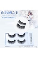 3D-40 mixed two pairs of false eyelashes black stalk eyelashes thick and long soft and comfortable cross imitation leeches