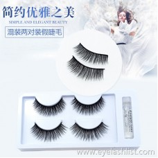 3D-40 mixed two pairs of false eyelashes black stalk eyelashes thick and long soft and comfortable cross imitation leeches