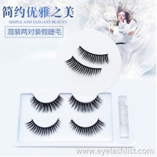 Cross-border for two pairs of false eyelashes Black stalk eyelashes 3D-37 Soft and comfortable nude makeup