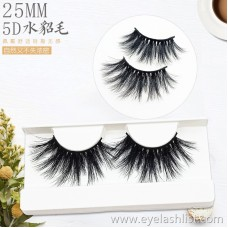 5D-21 pair of fake eyelashes, watery hair, 25mm eyelashes, thick and long, realistic, messy cross
