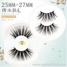 5D handmade new cotton stalk false eyelashes 25MM water smashed eyelashes thick multi-layered pair of European makeup