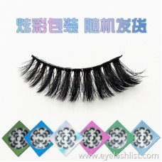 2019 new handmade black stalk false eyelashes 6D seven pairs of eyelashes long curly multi-layer thick flower