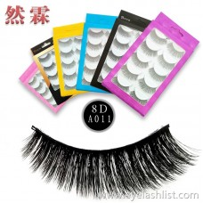 Factory direct five pairs of false eyelashes Handmade cotton stalk eyelashes Thick and long curls realistic European and American makeup